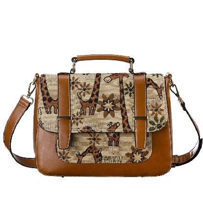 BUENo 2013 hot new arrival women's giraffe handbag vintage messenger bag fashion shoulder bags H1233(China (Mainland))