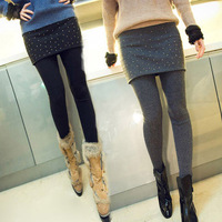 2013 women's autumn woolen wool cashmere faux two piece set thickening hip slim culottes legging boot cut jeans