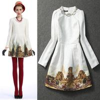 Fashion vintage print long-sleeve dress 2013 handmade beading short Runway dress women dresses ,Free Shipping