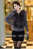 EMS Free Shipping Women Natural Real Rabbit Fur Coat Big Fox Fur Collar Women's Knitted Guinue Rabbit Fur Vest Fur Jacket TF0501