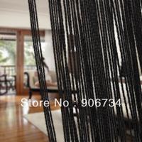 Tassel Fringe Hanging String Partition Divider  Wall Door Curtain Black Color