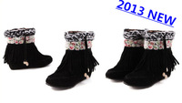 2013 Fashion Women Ankle Boots High Heels tassel hand made flower  Snow Boots  keep warm free shipping