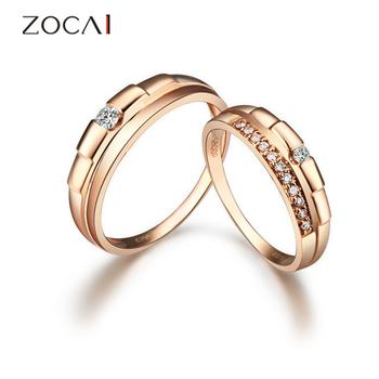zocai 0,17 бкм реального настоящий бриллиант розового золота 18к участия дюкс кольцо кольца пары свадьбы