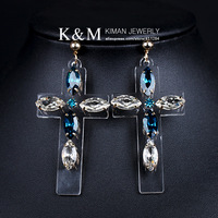 (Min order is $10) New Fashion Multicolor Acrylic Earrings Cross Pendant Design Jewelry for  Women EA-04137 Free Shipping
