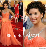 Free shipping 2014 Celebrity Dresses Long Sexy Sleeveless Round Neck Orange Chiffon A Line Red Carpet Evening Gowns