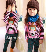 Free Shipping New Girls Toddler Clothing Round Neck Soft Winter Warm Thick Tops Ages1-6Y