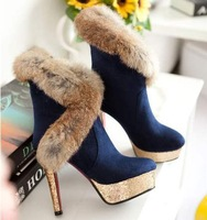 free shipping,SY41,size 34-39,leather&flock,platforms,warm lining,winter shoes women ankle boots fashion high heel boots