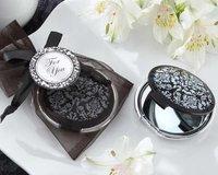Free Shipping Damask Elegant Black & White Mirror Compact Favors 100PCS/LOT Wedding bridal shower favors
