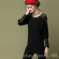 Plus size L-5XL, Fashion Brand Women Long paragraph Bottoming shirt Long sleeve handmade rhinestone decoration Lace Tops Black