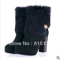 New listing 2013 autumn and winter fashion Thick Heel round head rabbit fur Martin boots quality assurance FREE SHIPPING