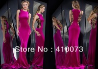 Free Shipping Satin Sleeveless Appliques Hot Sale Fashion Gown