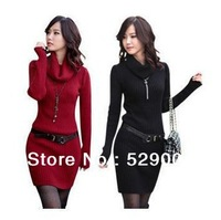 Thickening slim hip knitted basic turtleneck all-match sweater winter one-piece dress female