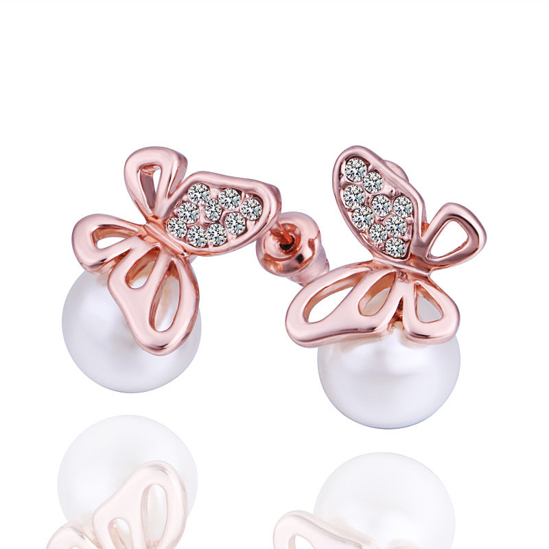 Fashion Butterfly Plated Rose Gold Diamante With Natural Pearl Stud Earring(China (Mainland))