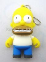 Homer Simpsons 4GB 8GB 16GB 32GB  genuine USB 2.0 Flash Memory Stick Pen Drive Thumbdrive U-disk Card  Mobile Storage Devices