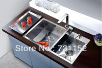 High quality super thick  hand made  rectangular stainless steel dual kitchen sinks