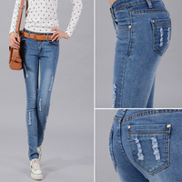 2013 New Hot Sale woman Blue denim jeans zip sexy pencil pants skinny fit Slim Trousers Distrressed White Free Shipping