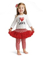 Autumn female child top dot skorts piece set christmas sets for girls