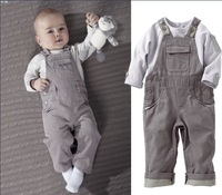 Autumn handsome male child denim bib pants casual long-sleeve set baby clothing set