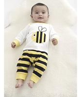 Male female child autumn bee set long-sleeve kids pajamas sets baby pajamas