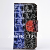 Luxury Colorful Crocodile Leather Wallet Purse Flip IC Card Back Cover Case For Iphone 4 4S Free shipping New Arrival 1pc