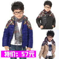 Male child winter children's clothing child wadded jacket female child clothes short design plaid outerwear the trend of