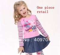 Free shipping new arrivals! H4235# Nova Kids wear girls  lovely clothing 100% cotton long sleeve dress with embroidery peppa pig