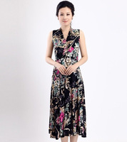 Hot-selling quinquagenarian one-piece dress summer women's mother clothing milk, silk v-neck dress plus size skirt