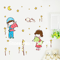 Girl, Boy,Dog and Stars Wall Sticker Decals for Nursery Kids Room