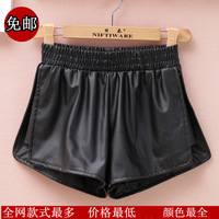 Autumn and winter fashion loose plus size placketing PU shorts female leather trousers boot cut jeans elastic waist