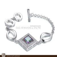 New! Stunning Fashion Jewelry Mystic Topaz 925 Sterling Silver Bracelet B0035