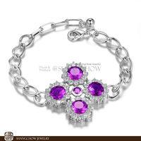 New! Stunning Fashion Jewelry 5 PCS Amethyst Quartz 925 Sterling Silver Bracelet B0051