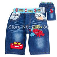 6 Pcs/lot Summer children trousers fashion Cartoon boys shorts jeans Spider man cars kids denim pants