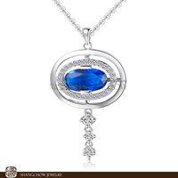 New Stunning Fashion Jewelry Sets Blue Sapphire Quartz 925 Sterling Silver Filled 18K Platinum Pendant P0371