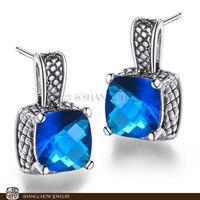 New! Stunning Fashion Jewelry  Blue Sapphire Quartz 925 Sterling Silver Earrings E0321