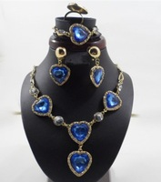 Fashion Gold Plated Blue rhinestone Crystal Heart Bridal wedding jewelry sets for brides Jewelry set blue sapphire necklace F104