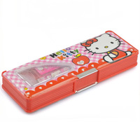 Free shipping 2014 New design cartoon stationery sets Double face design pencil box set (6IN1) Hello kitty school supplies
