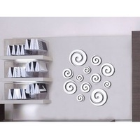 Home decoration modern design!Mirror effect whirl wall stickers,3D interior ornamentation living room,Free shipping!F83