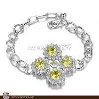 New! Stunning Fashion Jewelry 5 PCS CITRINE 925 Sterling Silver Bracelet B0054
