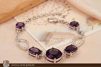 New! Stunning Fashion Jewelry 5 PCS Amethyst Quartz 925 Sterling Silver Bracelet B0044
