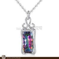 Stunning Fashion Jewelry Sets Mystic Topaz 925 Sterling Silver Filled 18K Platinum Lady Pendant P0369