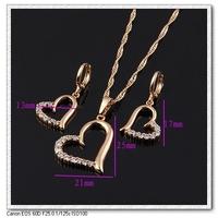 2014 fashion 18K gold plated heart shape jewelry sets, necklace pendant with earring Free shipping KUNIU  DJE0044