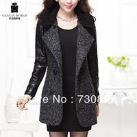 Special low price ladies long gauge posted free pure black leisure OL tweed wool coat