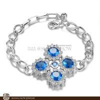 New! Stunning Fashion Jewelry 5 PCS Blue Topaz 925 Sterling Silver Bracelet B0048