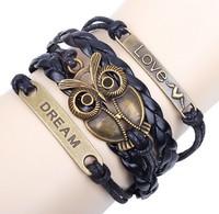 Top Fashion Black Big Eye Owl PU Leather Bracelet For Women & Men Handmade Accessories Free shipping HeHuanSLQ232