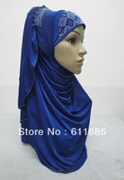 S486 latest one piece muslim hijab with rhinestones,fast delivery, $15 off per $150 order