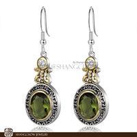 New! Stunning Fashion Jewelry  Peridot 925 Sterling Silver Earrings E0370
