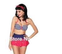 New Arrival Sexy RETRO Pinup Vintage Reversible High Waist Bra Push Up Bikini Swimwear Swimsuit Set Free Shipping