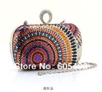 New Luxury Swarovski Crystal Women Handbag Fashion Evening Bag Leather Handbag Women Clutch Bag Wallet With Chain Free Shipping