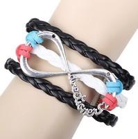 New Style Big Infinity PU Leather Charm Bracelet For Women Handmade Braided Jewelry HeHuanSLQ230