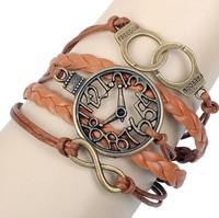 New Arrive Vintage Wristwatch Handcuffs Infinity PU Leather Charms Bracelet For Unisex HeHuanSLQ231